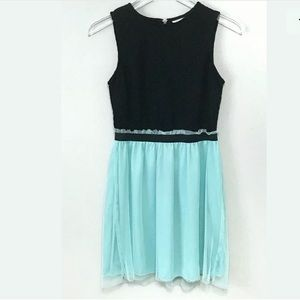 Speechless Black Crochet Aqua Tulle Skirt Dress